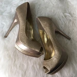 Gold Glittered Open-Toe Platforms by Bakers size 8
